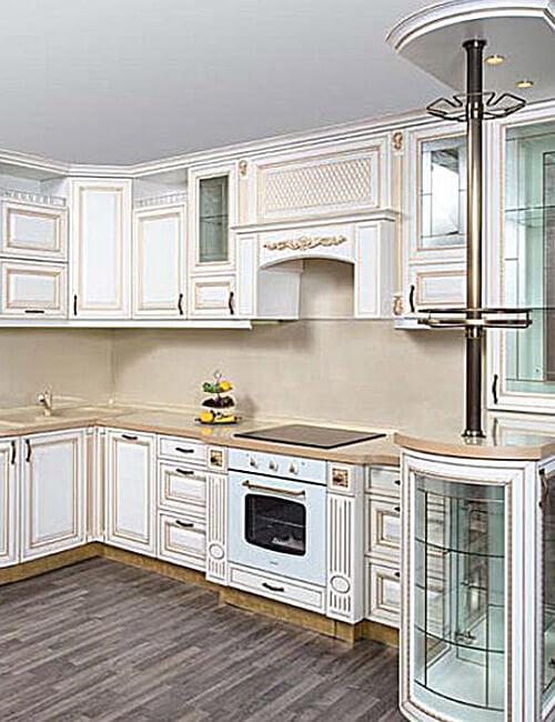 Кухня Ривьера пленка текстурный белый золотое устарение