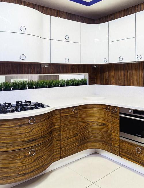 кухни с фасадами из шпона